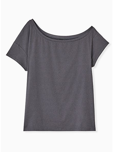 Dark Grey Off Shoulder Wicking Active Tee, GREY, hi-res