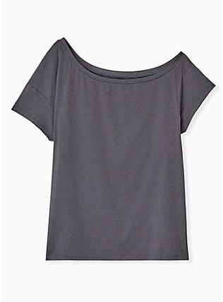 Plus Size Dark Grey Off Shoulder Wicking Active Tee, GREY, flat