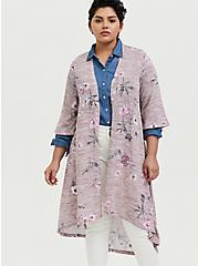 Plus Size Mauve Pink Hacci Floral H-Lo Kimono, FLORALS-PINK, alternate