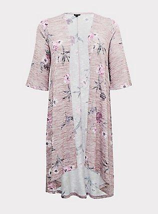 Mauve Pink Hacci Floral H-Lo Kimono, FLORALS-PINK, flat