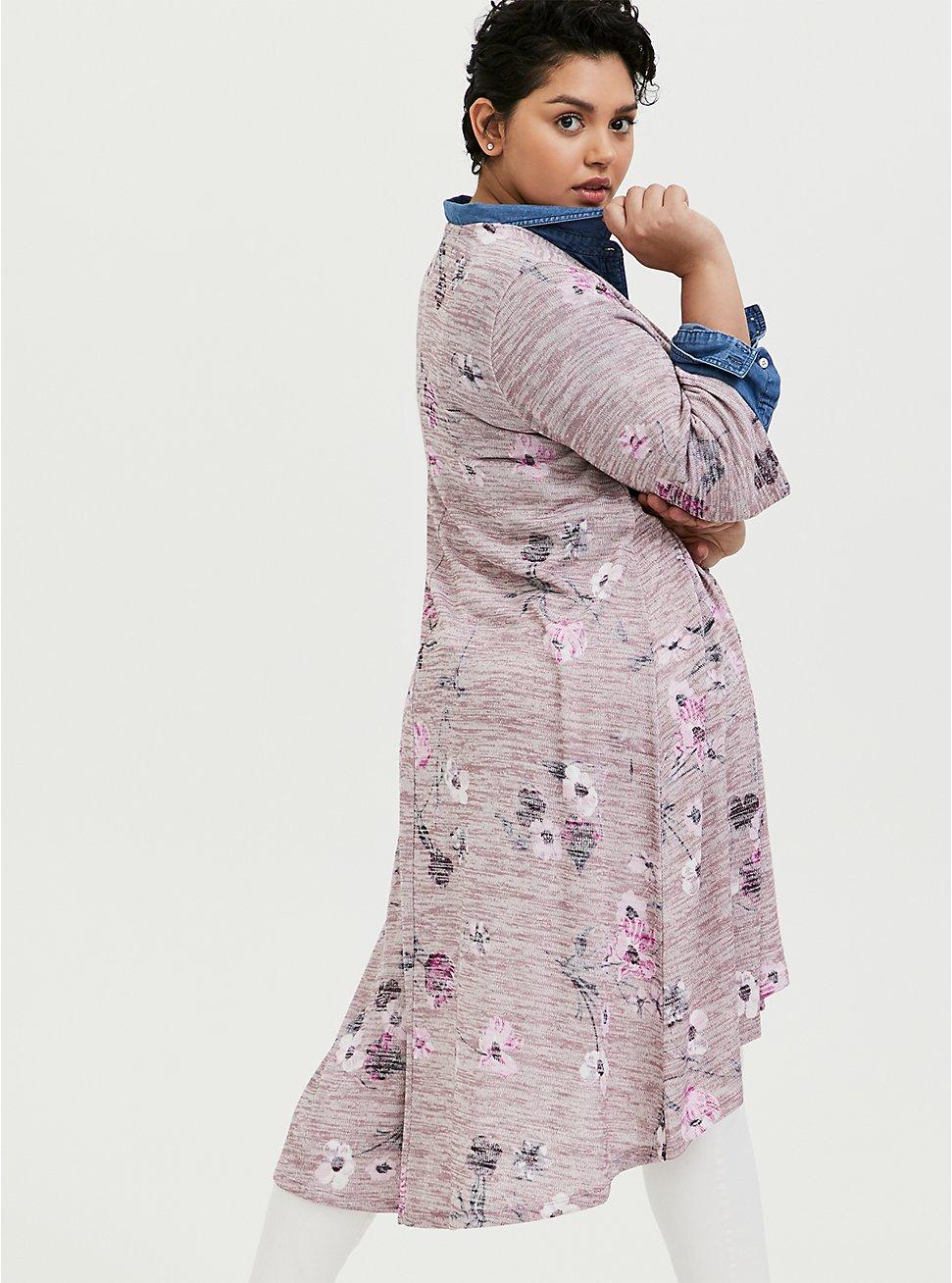 Plus Size Mauve Pink Hacci Floral H-Lo Kimono, FLORALS-PINK, hi-res