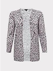 Mauve Pink Leopard Open Front Cardigan, LEOPARD, hi-res