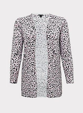 Mauve Pink Leopard Open Front Cardigan, LEOPARD, flat