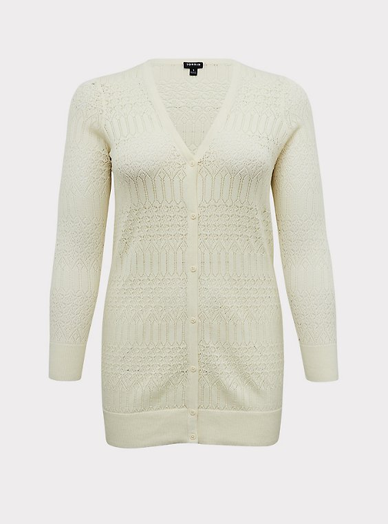 Plus Size Ivory Pointelle Button Front Cardigan, , flat