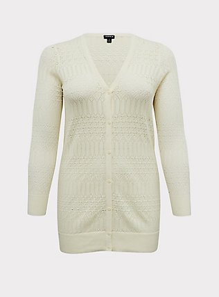 Ivory Pointelle Button Front Cardigan, WINTER WHITE, flat