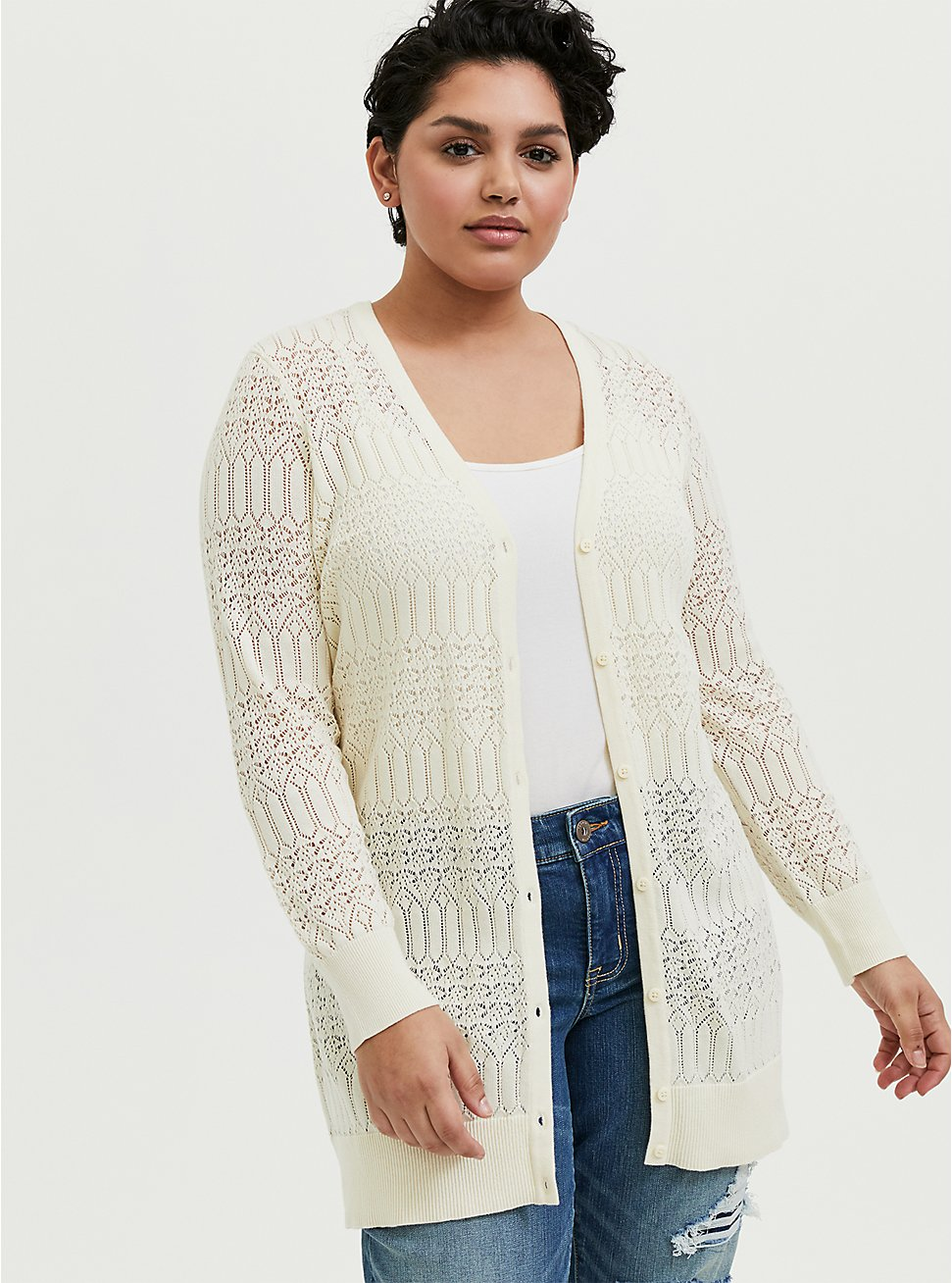Plus Size Ivory Pointelle Button Front Cardigan, WINTER WHITE, hi-res