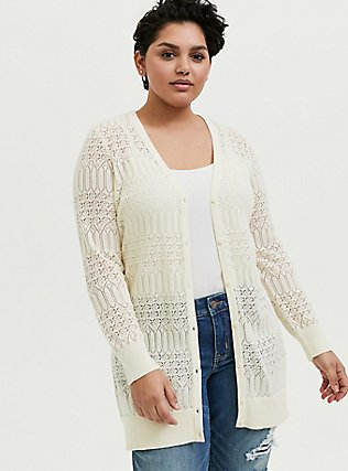 Ivory Pointelle Button Front Cardigan, WINTER WHITE, hi-res