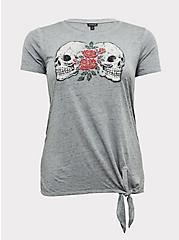 Grey Burnout Rose Skull Tie Front Tee, MEDIUM HEATHER GREY, hi-res