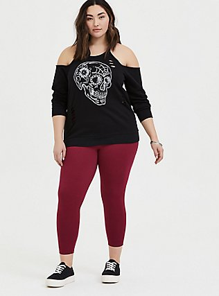 Black Skull Terry Cold Shoulder Distressed Sweatshirt , DEEP BLACK, alternate