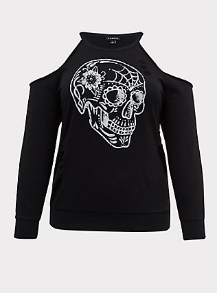 Black Skull Terry Cold Shoulder Distressed Sweatshirt , DEEP BLACK, flat