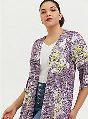 Purple Hacci Floral Hi-Lo Kimono, , alternate
