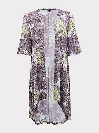 Purple Hacci Floral Hi-Lo Kimono, , flat