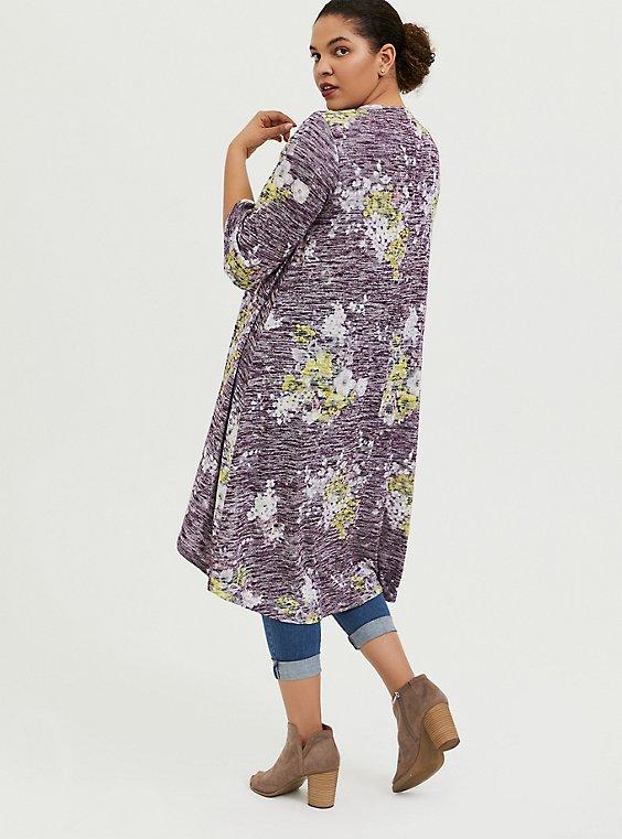 Plus Size Purple Hacci Floral Hi-Lo Kimono, , hi-res