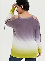 Slate Grey & Lime Green Ombre Rib Lattice Sleeve Sweater, , alternate