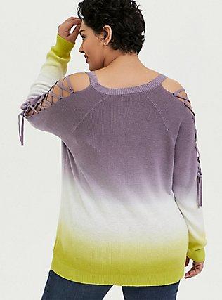 Plus Size Slate Grey & Lime Green Ombre Rib Lattice Sleeve Sweater, , alternate
