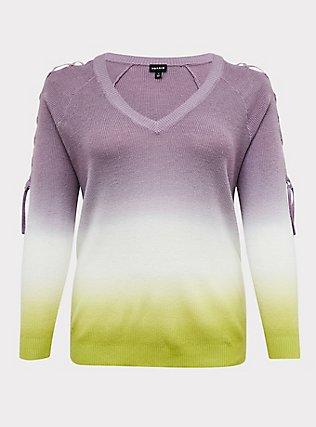 Plus Size Slate Grey & Lime Green Ombre Rib Lattice Sleeve Sweater, , flat