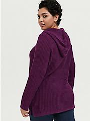 Plus Size Plum Purple Rib Tunic Hoodie, DARK PURPLE, alternate