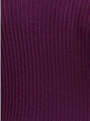 Plum Purple Rib Tunic Hoodie, DARK PURPLE, alternate