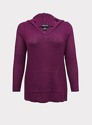 Plum Purple Rib Tunic Hoodie, DARK PURPLE, flat