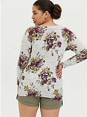 Light Grey Rib Floral Sweater, , alternate