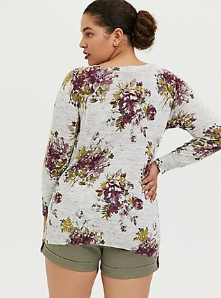 Light Grey Rib Floral Sweater, , alternate