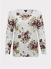 Light Grey Rib Floral Sweater, , hi-res