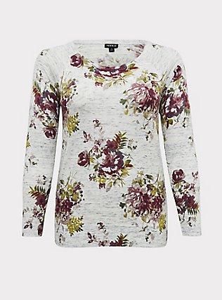 Light Grey Rib Floral Sweater, , flat