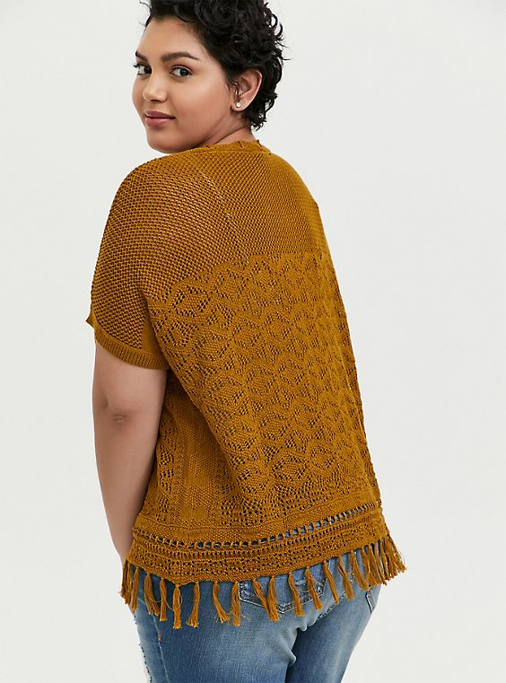 Plus Size Mustard Yellow Fringe Hem Dolman Top, , hi-res