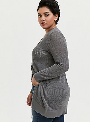 Plus Size Grey Pointelle Button Front Cardigan, SMOKED PEARL, alternate