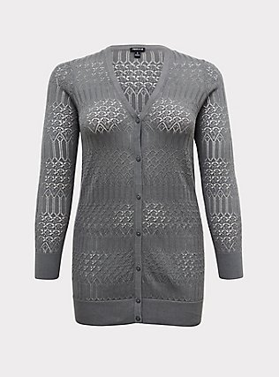 Plus Size Grey Pointelle Button Front Cardigan, SMOKED PEARL, flat