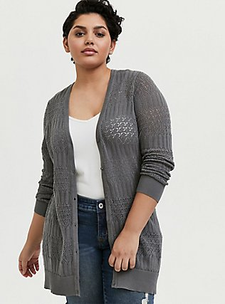 Plus Size Grey Pointelle Button Front Cardigan, SMOKED PEARL, hi-res