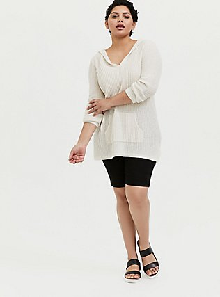 Ivory Rib Tunic Hoodie, NATURAL, alternate