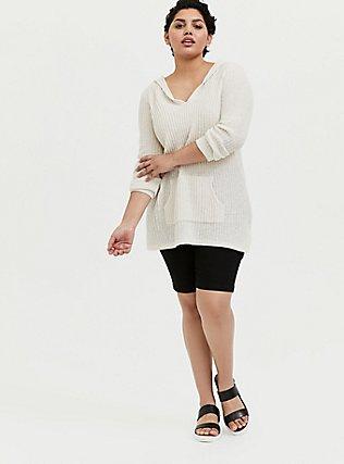 Plus Size Ivory Rib Tunic Hoodie, NATURAL, alternate