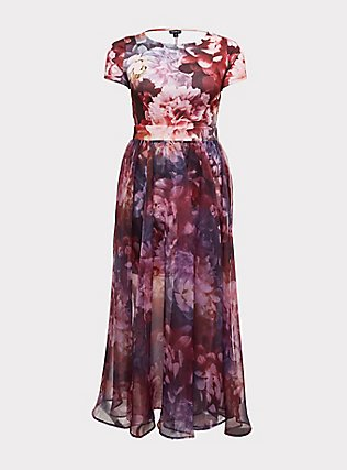 Plus Size Special Occasion Multi Floral Scuba Knit Dress & Organza Formal Gown Set, MULTI, flat