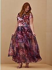 Special Occasion Multi Floral Scuba Knit Dress & Organza Formal Gown Set, MULTI, hi-res