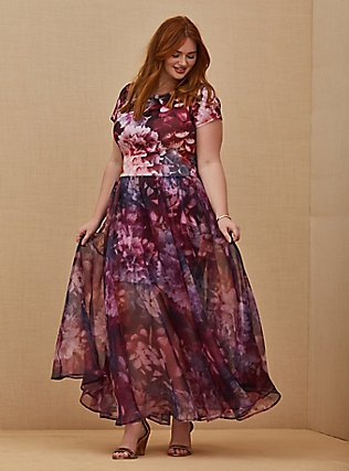 Special Occasion Multi Floral Scuba Knit Dress & Organza Formal Gown Set, MULTI, hi-res