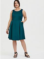 Dark Teal Textured Scuba Knit Mini Skater Dress, DEEP TEAL, alternate