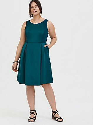 Plus Size Dark Teal Textured Scuba Knit Mini Skater Dress, DEEP TEAL, alternate