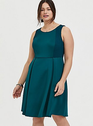 Plus Size Dark Teal Textured Scuba Knit Mini Skater Dress, DEEP TEAL, hi-res