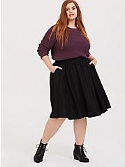Black Twill Midi Skirt, DEEP BLACK, alternate