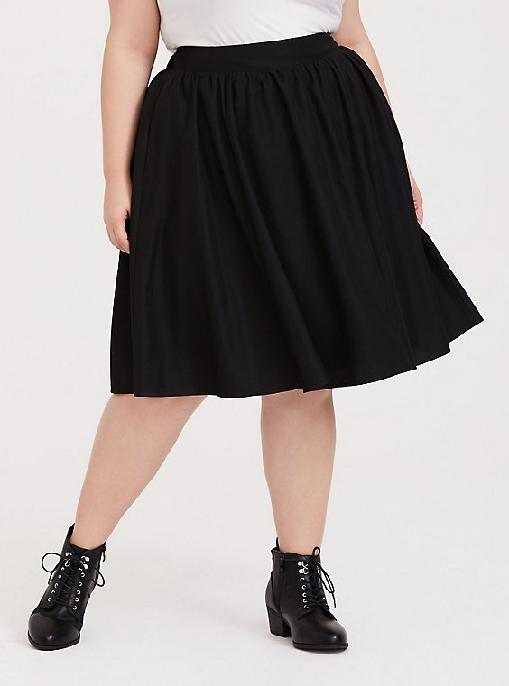 Black Twill Midi Skirt, , hi-res