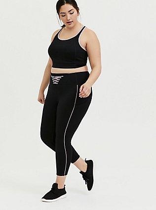 Black & Pink Lattice Front Crop Wicking Active Legging with Pockets, DEEP BLACK, alternate