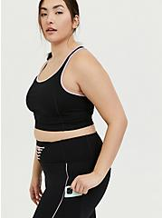 Black & Pink Lattice Front Crop Wicking Active Legging with Pockets, DEEP BLACK, alternate