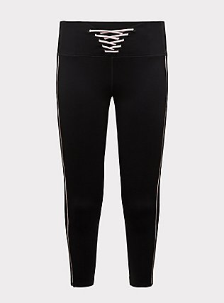 Plus Size Black & Pink Lattice Front Crop Wicking Active Legging with Pockets, DEEP BLACK, flat
