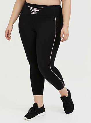 Plus Size Black & Pink Lattice Front Crop Wicking Active Legging with Pockets, DEEP BLACK, hi-res