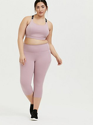 I Can I Will Light Mauve Pink Wicking Sports Bra, PINK, alternate