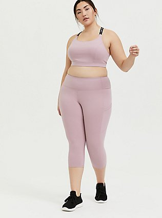 Mauve Pink Capri Wicking Active Legging with Pockets, PINK, alternate