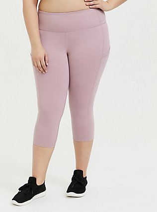Mauve Pink Capri Wicking Active Legging with Pockets, PINK, hi-res