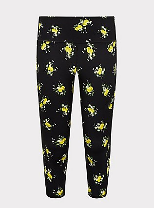Black Lemon Wicking Capri Active Legging With Pockets, MULTI, flat