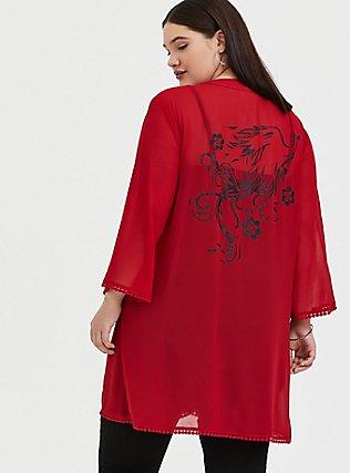 Disney Mulan Red Chiffon Phoenix Kimono, JESTER RED, alternate